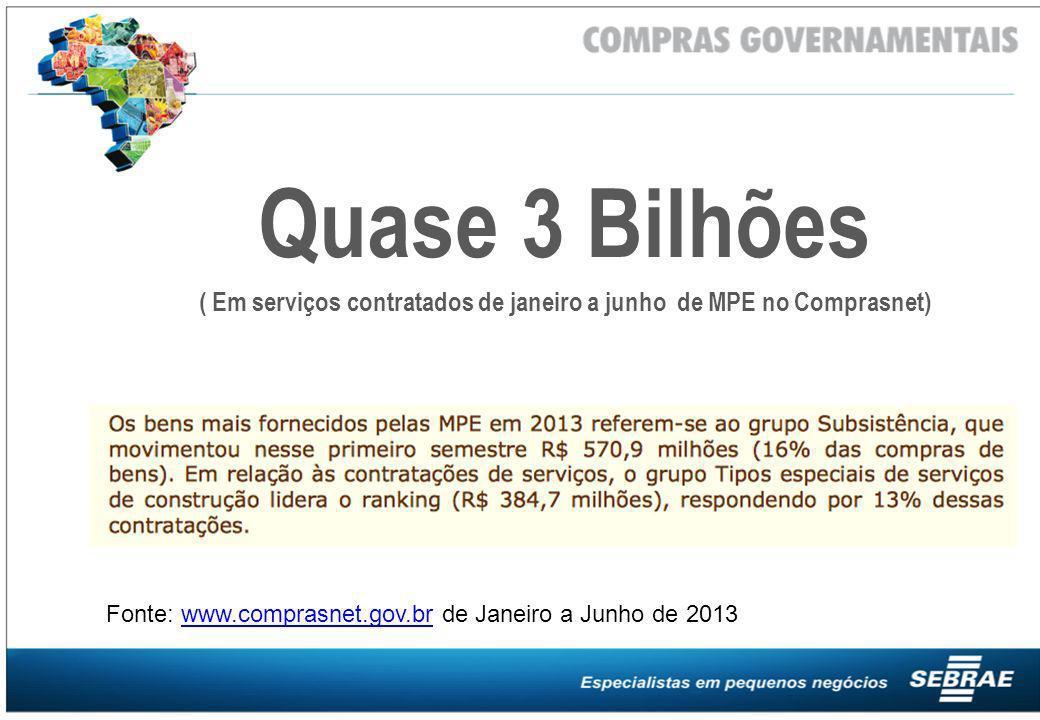 Fonte: www.comprasnet.gov.br de Janeiro a Junho de 2013www.comprasnet.gov.br Quase 3 Bilhões ( Em serviços contratados de janeiro a junho de MPE no Co