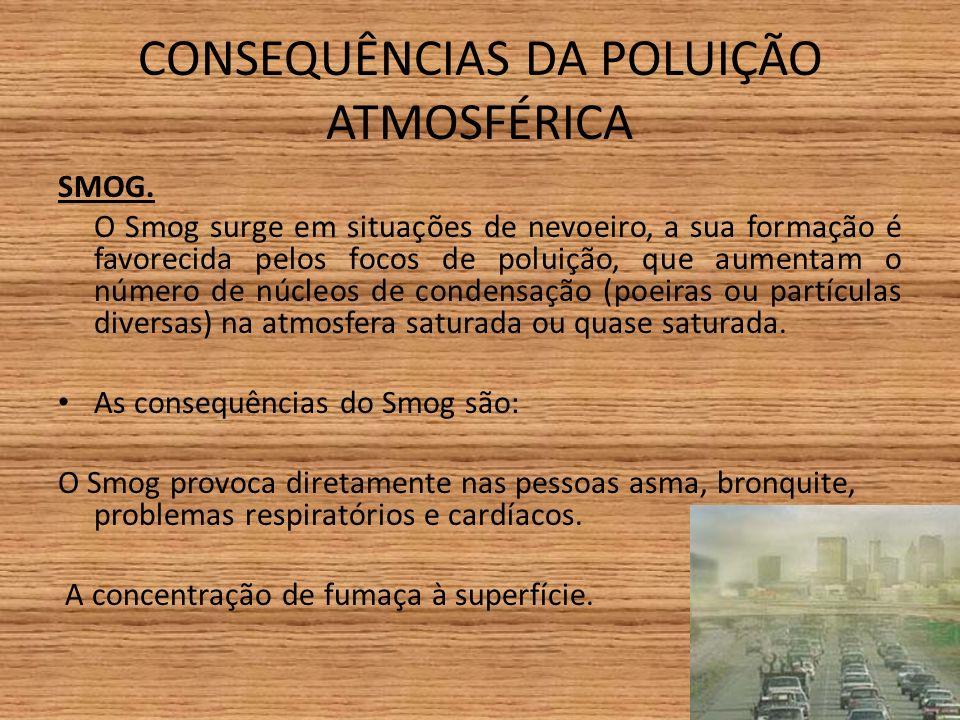 CONSEQUÊNCIAS DA POLUIÇÃO ATMOSFÉRICA SMOG.