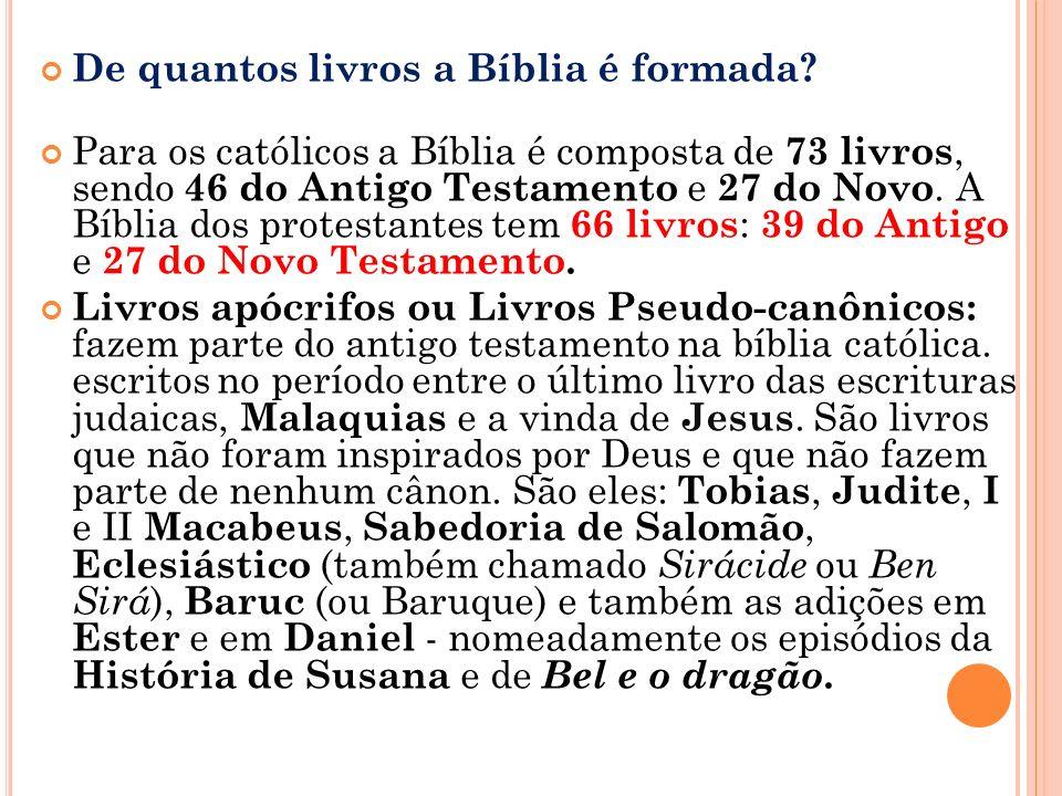 De quantos livros a Bíblia é formada.