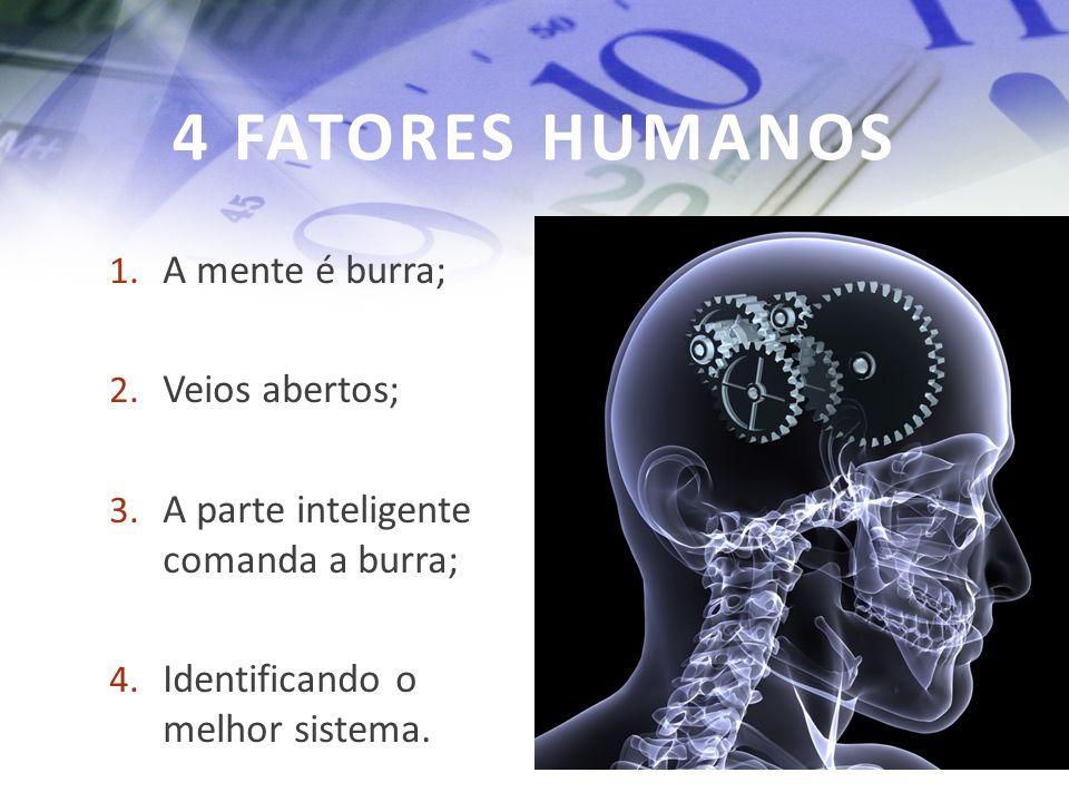 4 FATORES HUMANOS 1. A mente é burra; 2. Veios abertos; 3. A parte inteligente comanda a burra; 4. Identificando o melhor sistema.