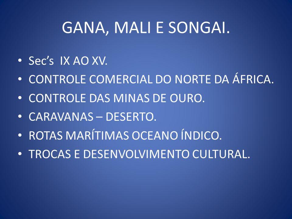 GANA, MALI E SONGAI. Secs IX AO XV. CONTROLE COMERCIAL DO NORTE DA ÁFRICA. CONTROLE DAS MINAS DE OURO. CARAVANAS – DESERTO. ROTAS MARÍTIMAS OCEANO ÍND