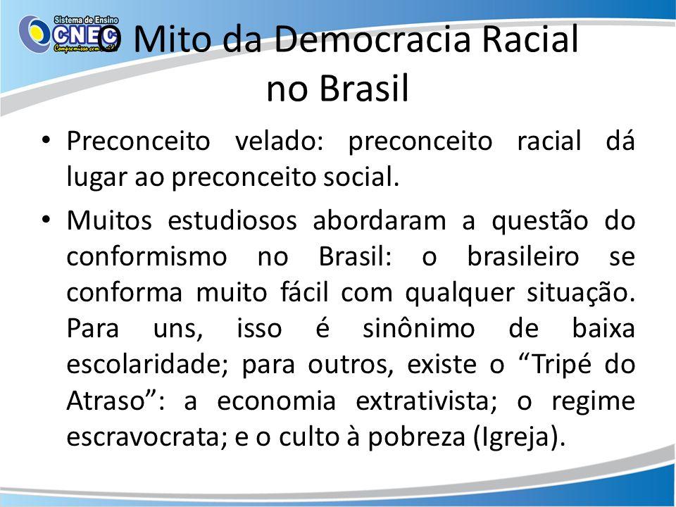 O Mito da Democracia Racial no Brasil Preconceito velado: preconceito racial dá lugar ao preconceito social.