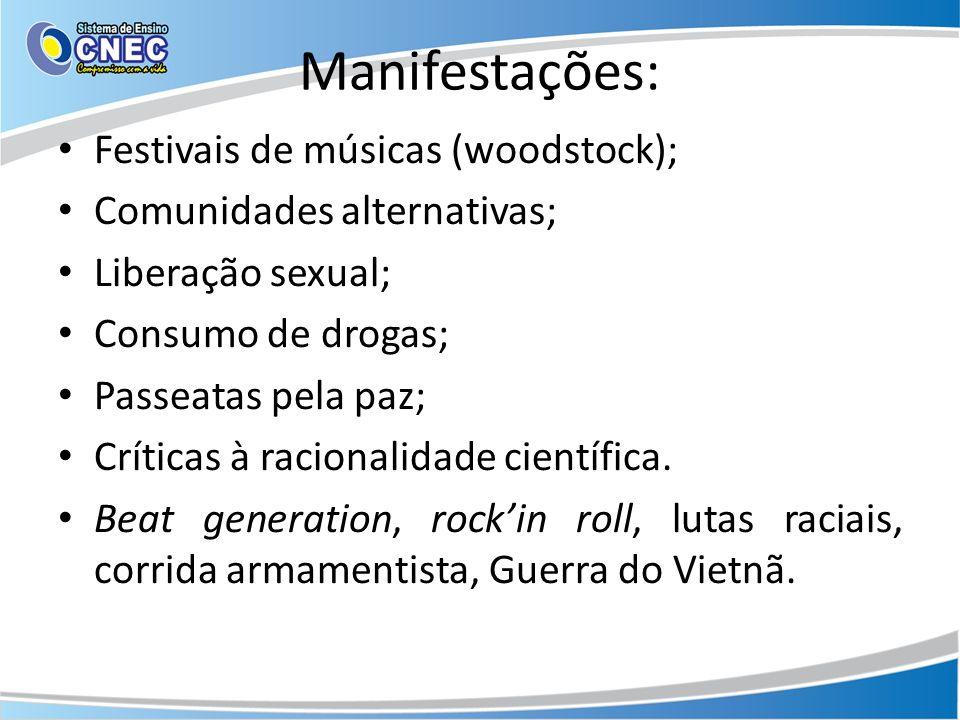 Manifestações: Festivais de músicas (woodstock); Comunidades alternativas; Liberação sexual; Consumo de drogas; Passeatas pela paz; Críticas à racionalidade científica.