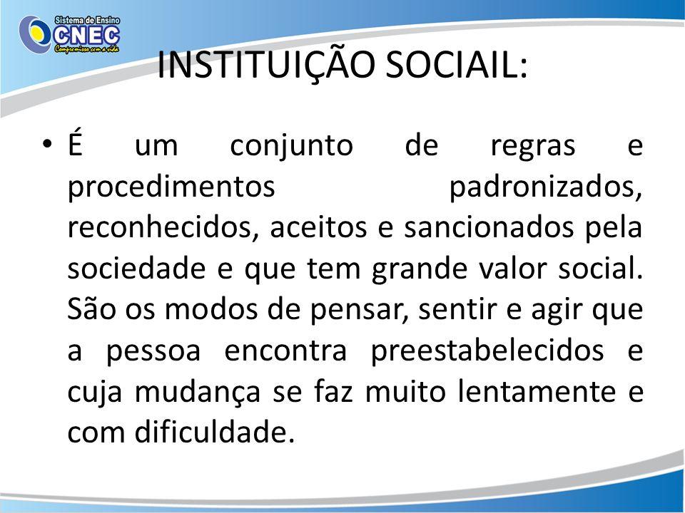 INSTITUIÇÃO SOCIAIL: É um conjunto de regras e procedimentos padronizados, reconhecidos, aceitos e sancionados pela sociedade e que tem grande valor social.