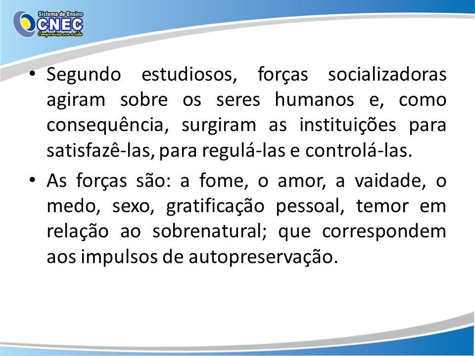 Segundo estudiosos, forças socializadoras agiram sobre os seres humanos e, como consequência, surgiram as instituições para satisfazê-las, para regulá