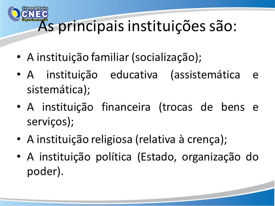 As principais instituições são: A instituição familiar (socialização); A instituição educativa (assistemática e sistemática); A instituição financeira (trocas de bens e serviços); A instituição religiosa (relativa à crença); A instituição política (Estado, organização do poder).