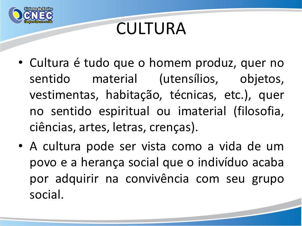 CULTURA Cultura é tudo que o homem produz, quer no sentido material (utensílios, objetos, vestimentas, habitação, técnicas, etc.), quer no sentido espiritual ou imaterial (filosofia, ciências, artes, letras, crenças).