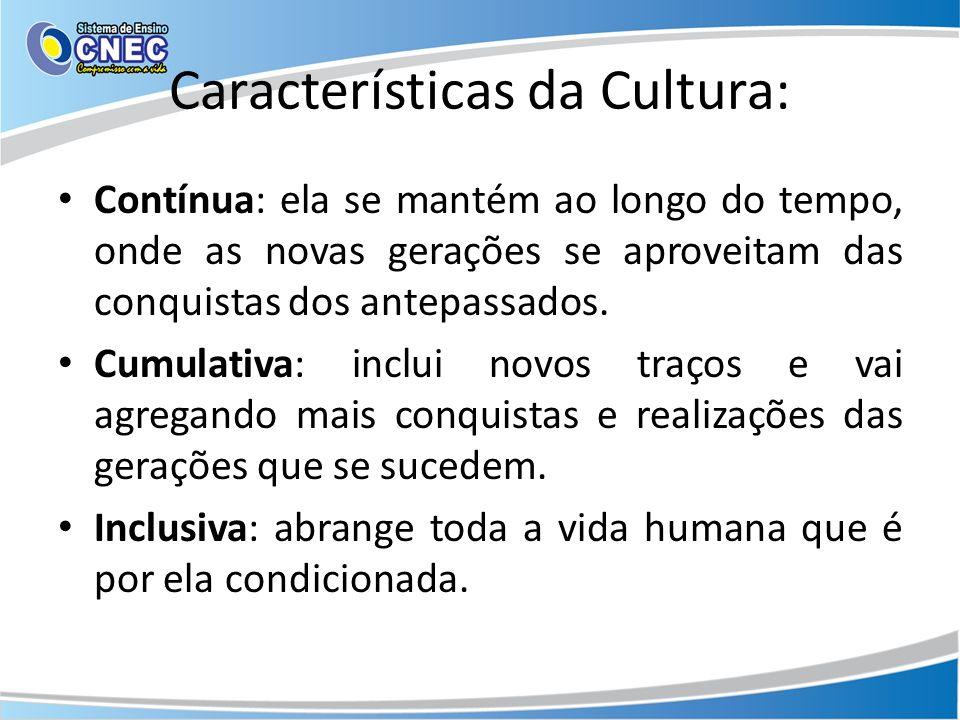 Características da Cultura: Contínua: ela se mantém ao longo do tempo, onde as novas gerações se aproveitam das conquistas dos antepassados. Cumulativ