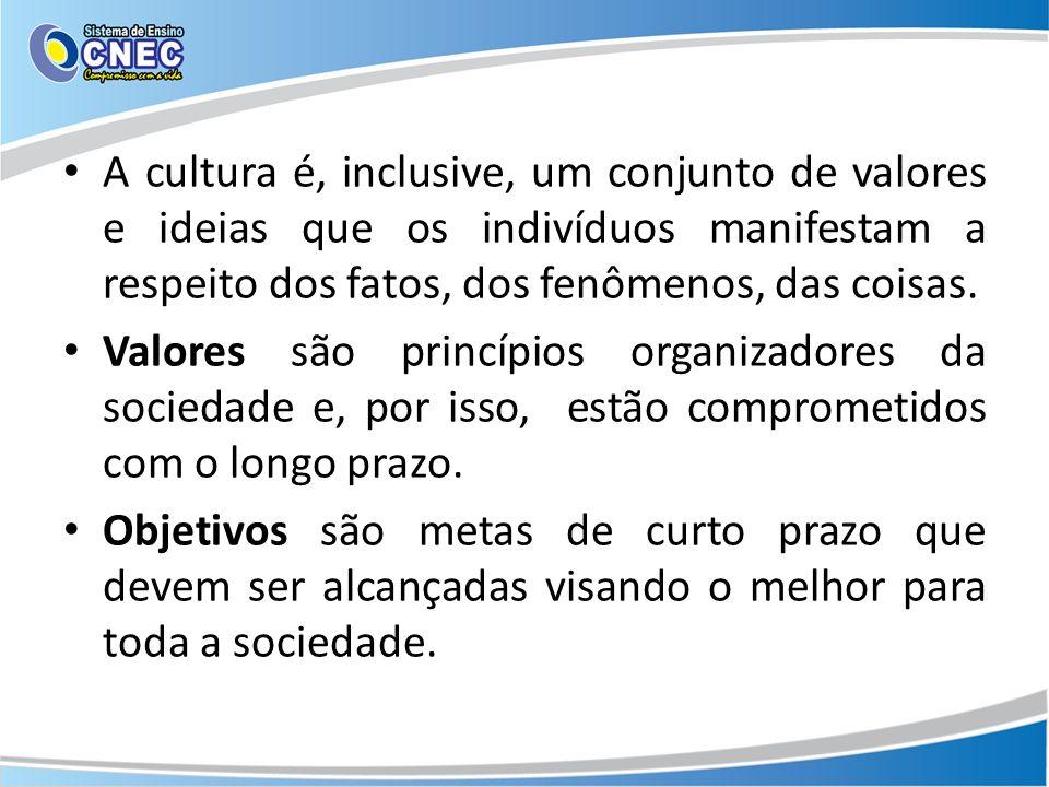 A cultura é, inclusive, um conjunto de valores e ideias que os indivíduos manifestam a respeito dos fatos, dos fenômenos, das coisas. Valores são prin