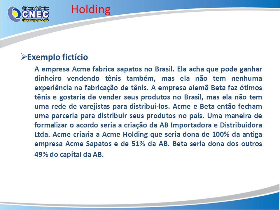 Holding Exemplo fictício A empresa Acme fabrica sapatos no Brasil. Ela acha que pode ganhar dinheiro vendendo tênis também, mas ela não tem nenhuma ex