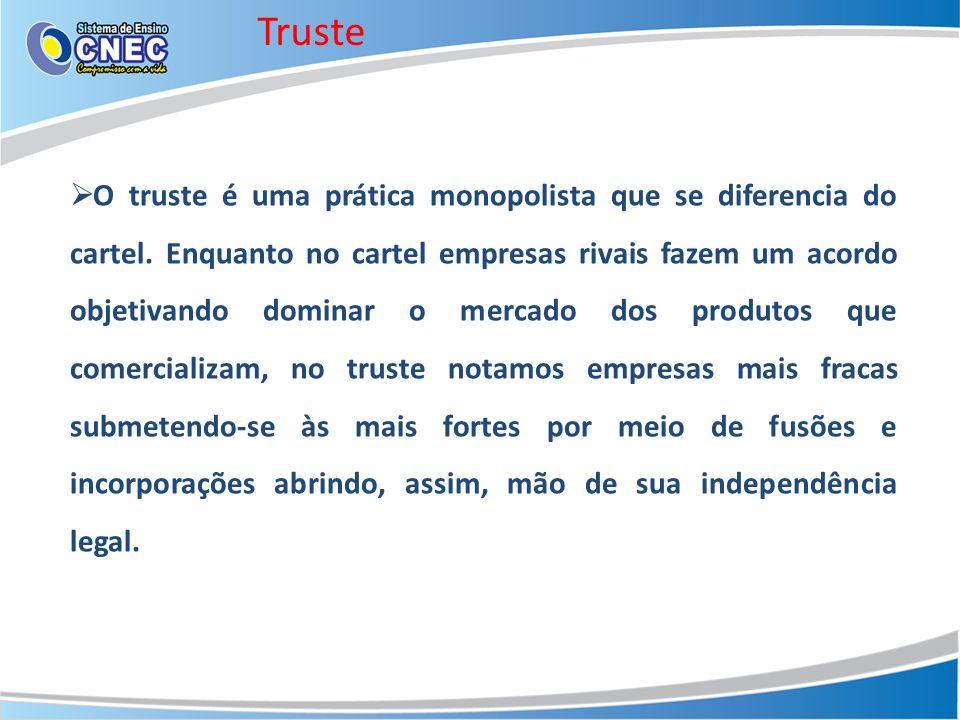 Truste O truste é uma prática monopolista que se diferencia do cartel. Enquanto no cartel empresas rivais fazem um acordo objetivando dominar o mercad