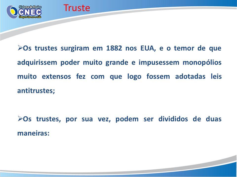 Truste Os trustes surgiram em 1882 nos EUA, e o temor de que adquirissem poder muito grande e impusessem monopólios muito extensos fez com que logo fo