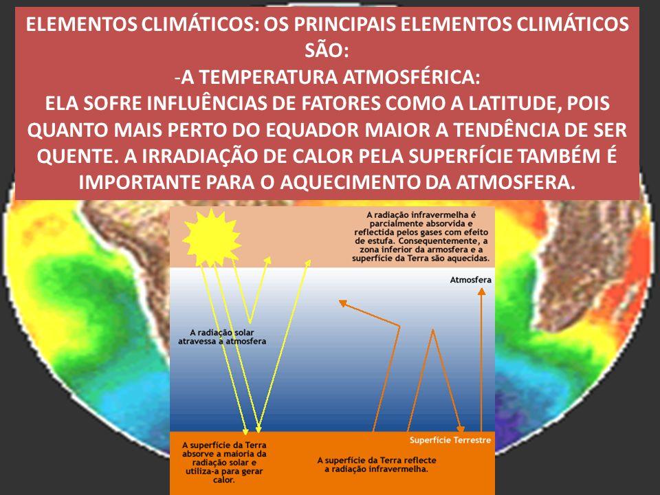 ELEMENTOS CLIMÁTICOS: OS PRINCIPAIS ELEMENTOS CLIMÁTICOS SÃO: -A TEMPERATURA ATMOSFÉRICA: ELA SOFRE INFLUÊNCIAS DE FATORES COMO A LATITUDE, POIS QUANT