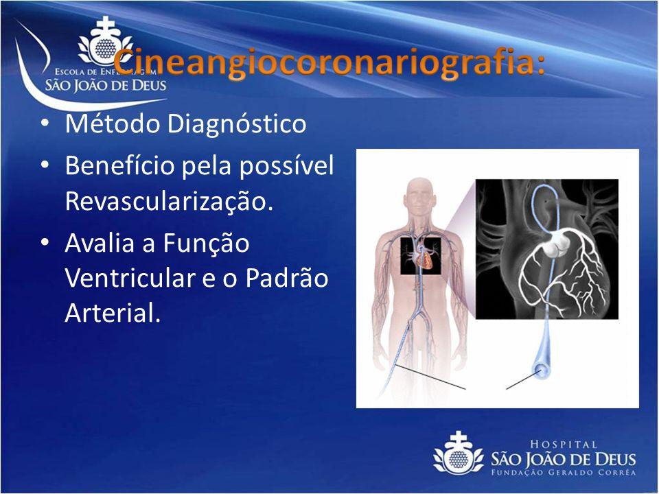 Método Diagnóstico Benefício pela possível Revascularização. Avalia a Função Ventricular e o Padrão Arterial.