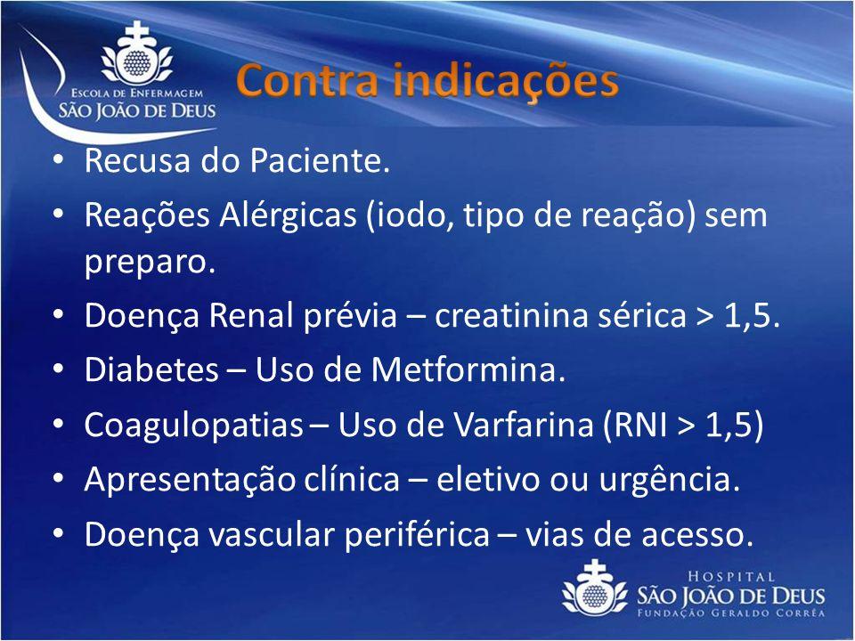 Recusa do Paciente. Reações Alérgicas (iodo, tipo de reação) sem preparo. Doença Renal prévia – creatinina sérica > 1,5. Diabetes – Uso de Metformina.