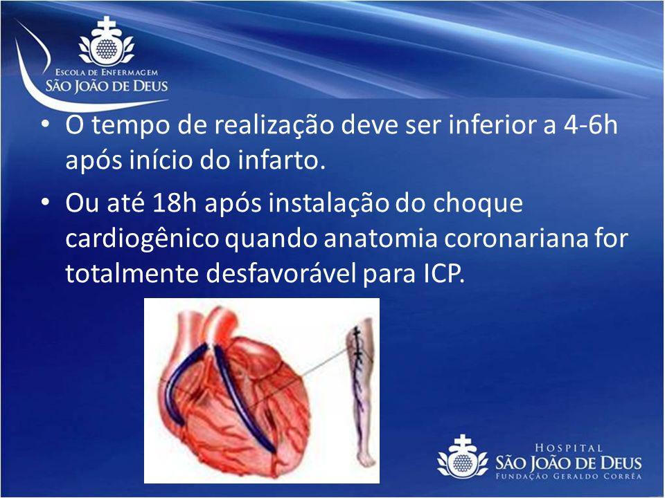O tempo de realização deve ser inferior a 4-6h após início do infarto. Ou até 18h após instalação do choque cardiogênico quando anatomia coronariana f