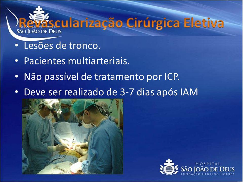 Lesões de tronco. Pacientes multiarteriais. Não passível de tratamento por ICP. Deve ser realizado de 3-7 dias após IAM