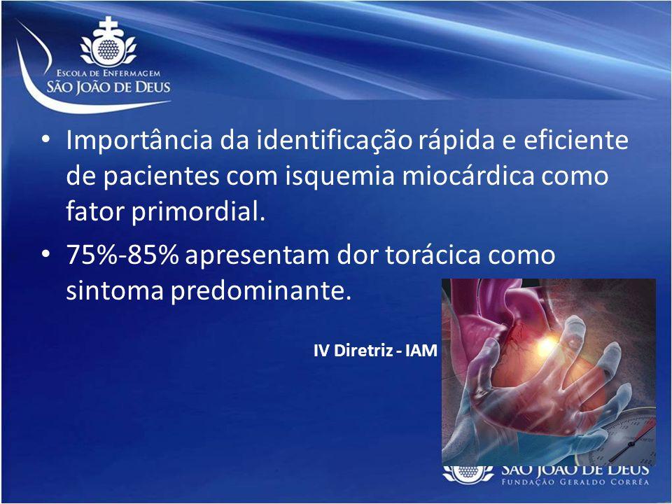 Importância da identificação rápida e eficiente de pacientes com isquemia miocárdica como fator primordial. 75%-85% apresentam dor torácica como sinto