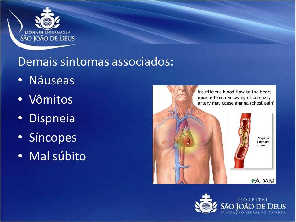 Demais sintomas associados: Náuseas Vômitos Dispneia Síncopes Mal súbito