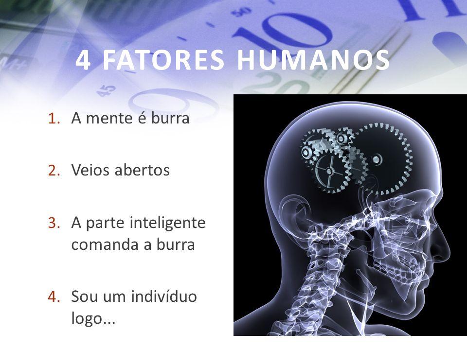 4 FATORES HUMANOS 1. A mente é burra 2. Veios abertos 3. A parte inteligente comanda a burra 4. Sou um indivíduo logo...