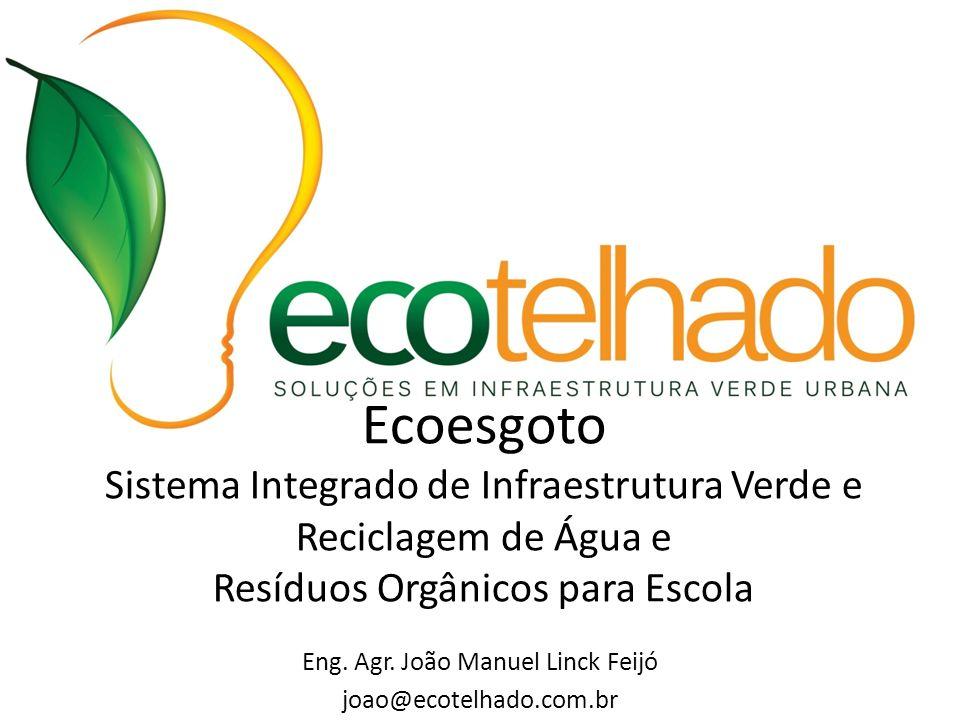 Eng. Agr. João Manuel Linck Feijó joao@ecotelhado.com.br Ecoesgoto Sistema Integrado de Infraestrutura Verde e Reciclagem de Água e Resíduos Orgânicos
