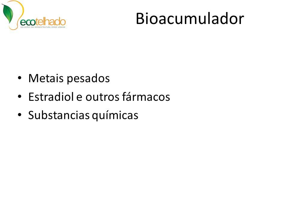 Bioacumulador Metais pesados Estradiol e outros fármacos Substancias químicas