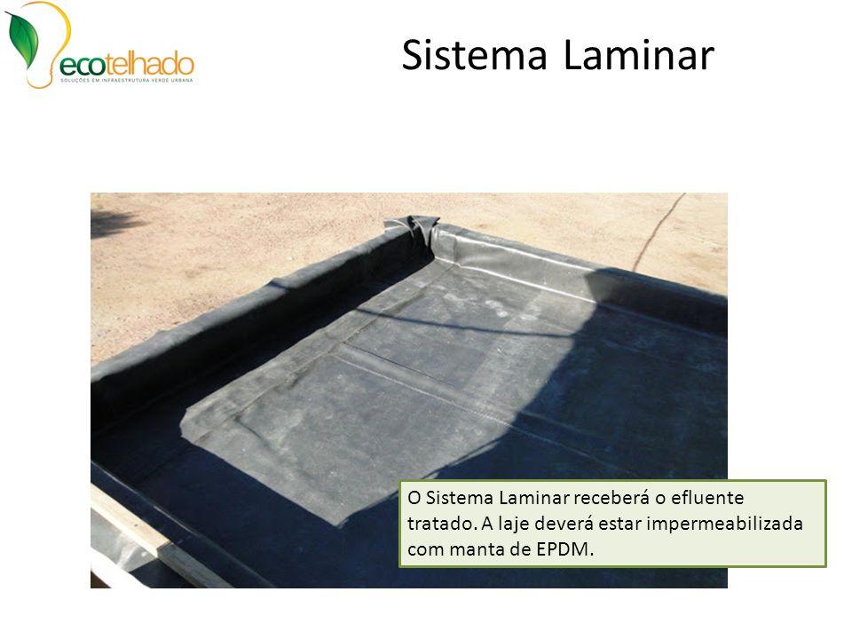 Sistema Laminar O Sistema Laminar receberá o efluente tratado. A laje deverá estar impermeabilizada com manta de EPDM.