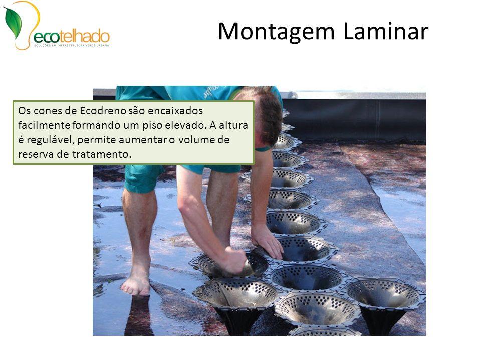 Montagem Laminar Os cones de Ecodreno são encaixados facilmente formando um piso elevado. A altura é regulável, permite aumentar o volume de reserva d
