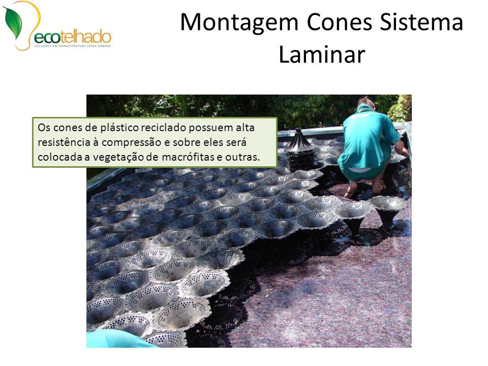 Montagem Cones Sistema Laminar Os cones de plástico reciclado possuem alta resistência à compressão e sobre eles será colocada a vegetação de macrófit