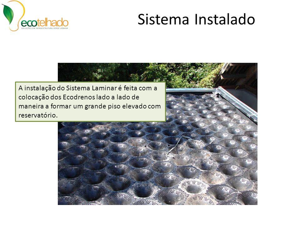 Sistema Instalado A instalação do Sistema Laminar é feita com a colocação dos Ecodrenos lado a lado de maneira a formar um grande piso elevado com res