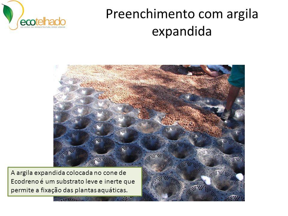 Preenchimento com argila expandida A argila expandida colocada no cone de Ecodreno é um substrato leve e inerte que permite a fixação das plantas aquá