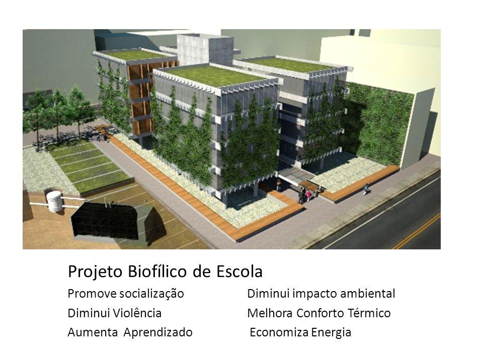 Projeto Biofílico de Escola Promove socialização Diminui impacto ambiental Diminui Violência Melhora Conforto Térmico Aumenta Aprendizado Economiza En
