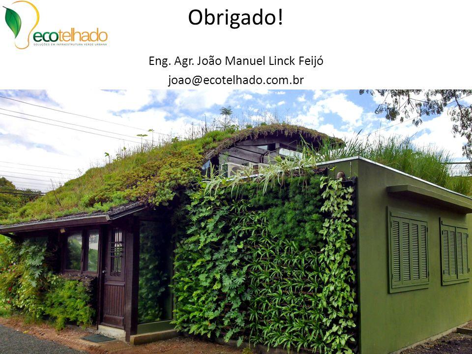 Obrigado! Eng. Agr. João Manuel Linck Feijó joao@ecotelhado.com.br