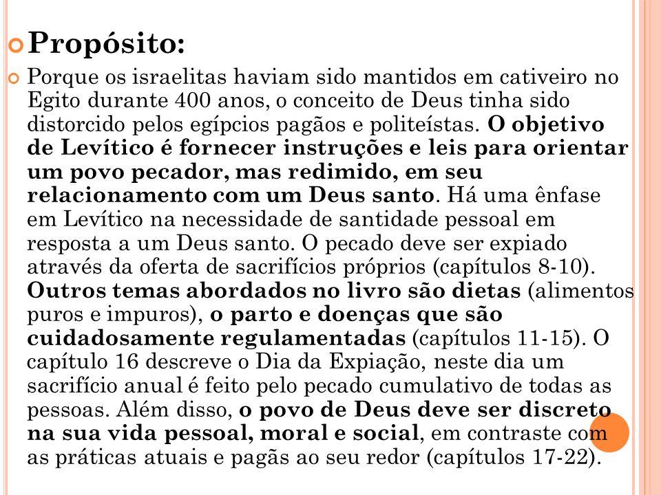 Resumo: Os capítulos 1-7 esboçam as ofertas exigidas, tanto dos leigos como dos sacerdotes. Os capítulos 8-10 descrevem a consagração de Arão e seus f
