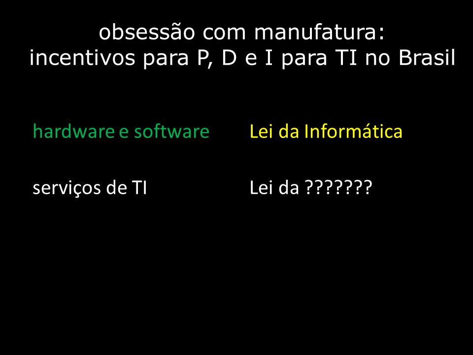obsessão com manufatura: incentivos para P, D e I para TI no Brasil hardware e softwareLei da Informática serviços de TILei da ???????