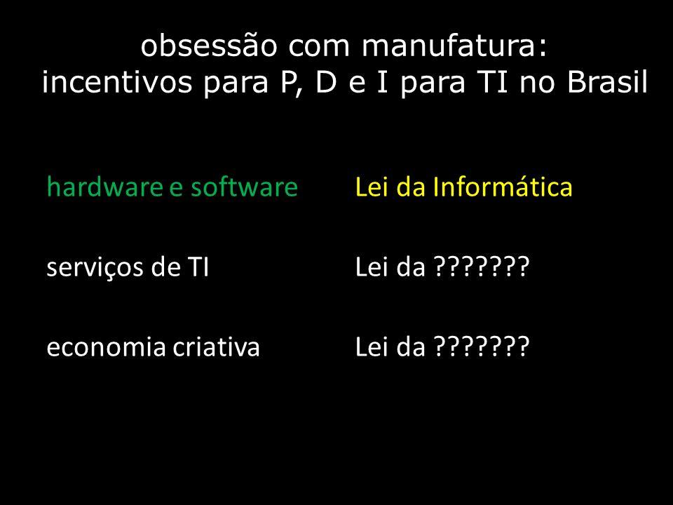 obsessão com manufatura: incentivos para P, D e I para TI no Brasil hardware e softwareLei da Informática serviços de TILei da ??????? economia criati
