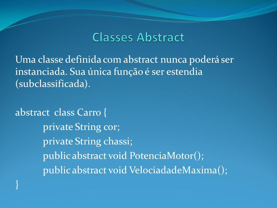 Uma classe definida com abstract nunca poderá ser instanciada. Sua única função é ser estendia (subclassificada). abstract class Carro { private Strin