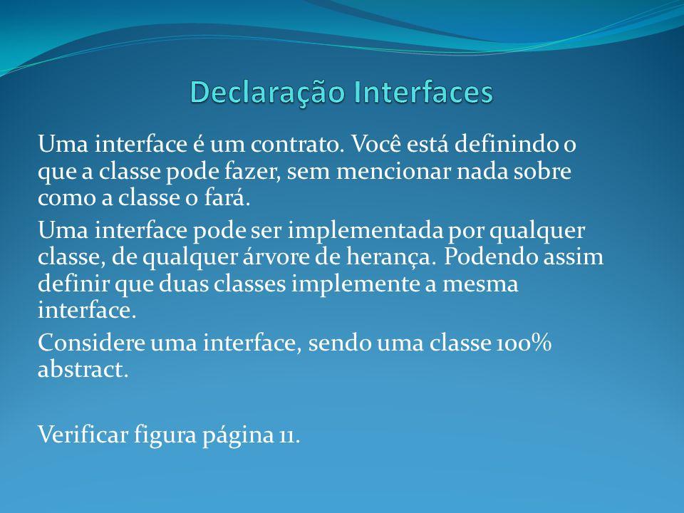 Uma interface é um contrato. Você está definindo o que a classe pode fazer, sem mencionar nada sobre como a classe o fará. Uma interface pode ser impl