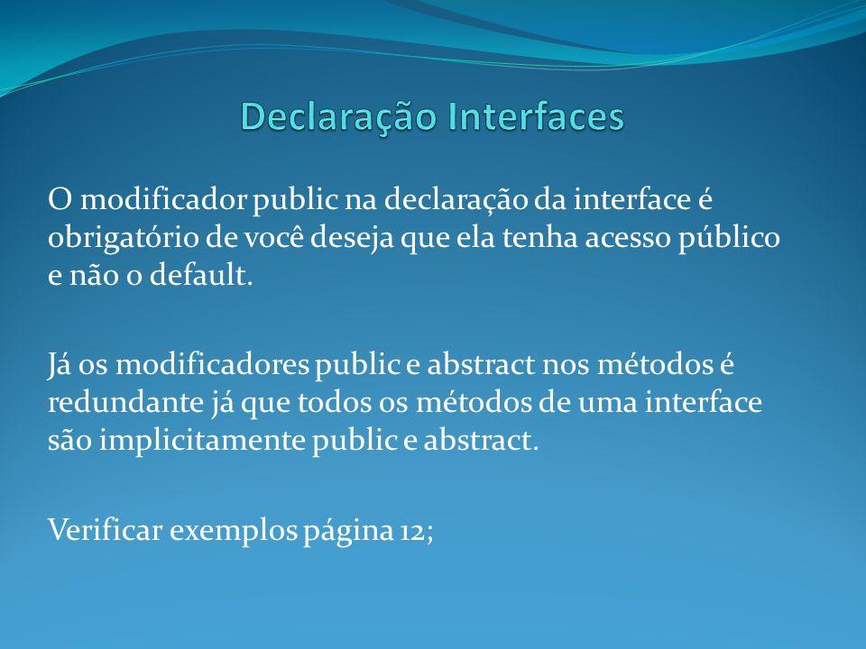O modificador public na declaração da interface é obrigatório de você deseja que ela tenha acesso público e não o default. Já os modificadores public
