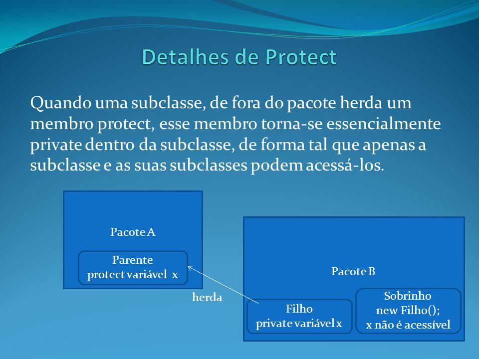 Quando uma subclasse, de fora do pacote herda um membro protect, esse membro torna-se essencialmente private dentro da subclasse, de forma tal que ape