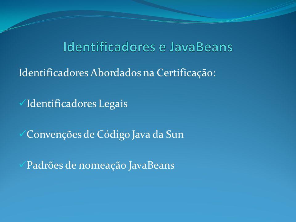 Identificadores Abordados na Certificação: Identificadores Legais Convenções de Código Java da Sun Padrões de nomeação JavaBeans