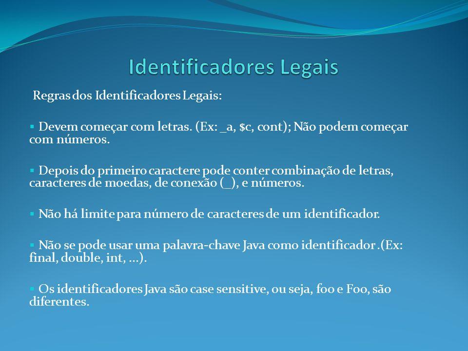 Regras dos Identificadores Legais: Devem começar com letras. (Ex: _a, $c, cont); Não podem começar com números. Depois do primeiro caractere pode cont