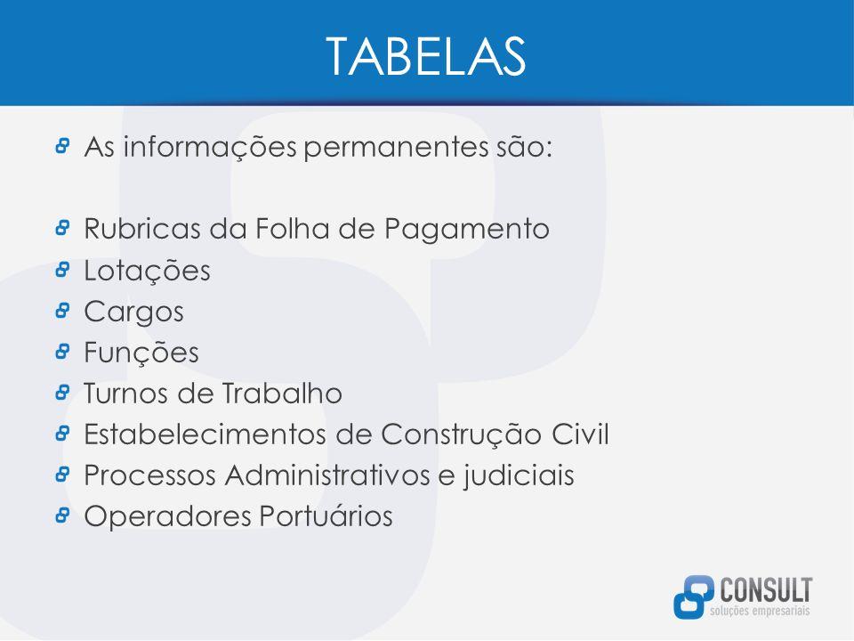TABELAS As informações permanentes são: Rubricas da Folha de Pagamento Lotações Cargos Funções Turnos de Trabalho Estabelecimentos de Construção Civil Processos Administrativos e judiciais Operadores Portuários