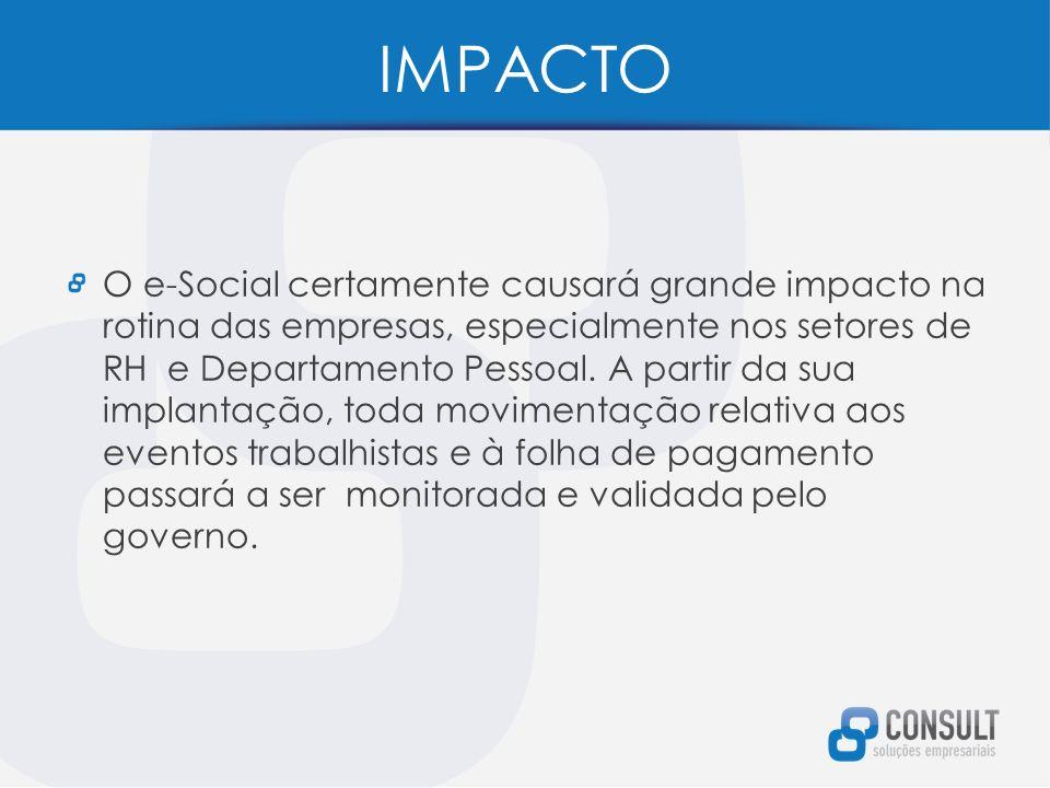 IMPACTO O e-Social certamente causará grande impacto na rotina das empresas, especialmente nos setores de RH e Departamento Pessoal.