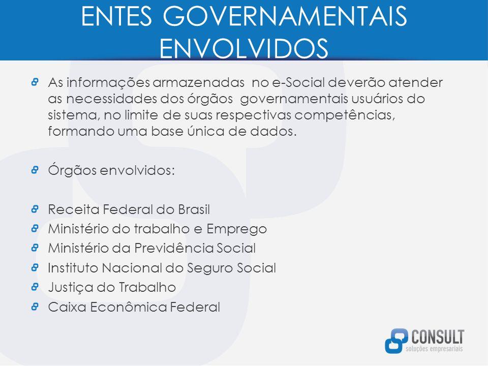 ENTES GOVERNAMENTAIS ENVOLVIDOS As informações armazenadas no e-Social deverão atender as necessidades dos órgãos governamentais usuários do sistema, no limite de suas respectivas competências, formando uma base única de dados.