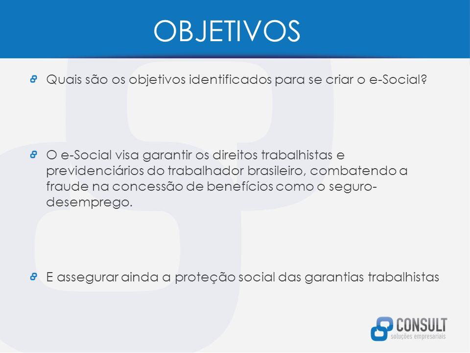 OBJETIVOS Quais são os objetivos identificados para se criar o e-Social.