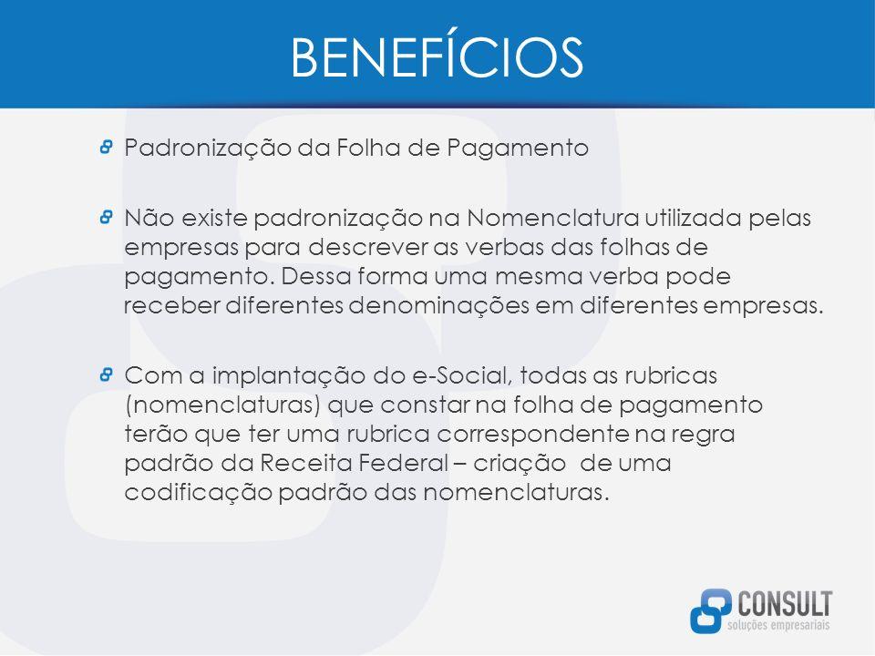 BENEFÍCIOS Padronização da Folha de Pagamento Não existe padronização na Nomenclatura utilizada pelas empresas para descrever as verbas das folhas de pagamento.