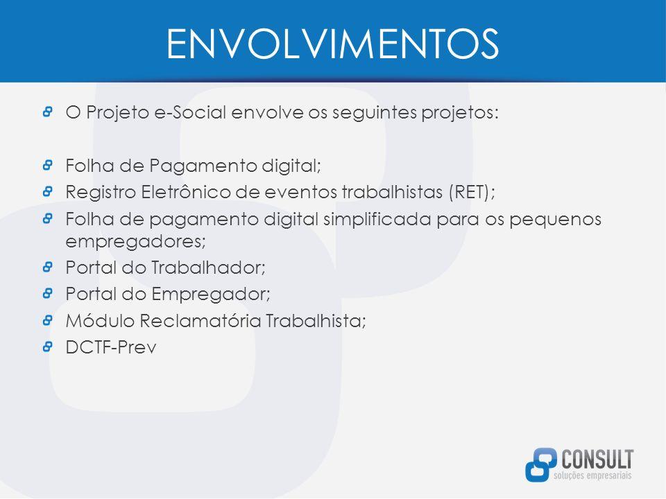 ENVOLVIMENTOS O Projeto e-Social envolve os seguintes projetos: Folha de Pagamento digital; Registro Eletrônico de eventos trabalhistas (RET); Folha de pagamento digital simplificada para os pequenos empregadores; Portal do Trabalhador; Portal do Empregador; Módulo Reclamatória Trabalhista; DCTF-Prev