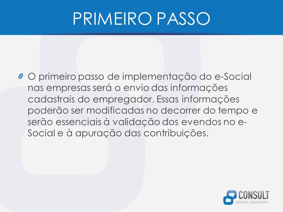 PRIMEIRO PASSO O primeiro passo de implementação do e-Social nas empresas será o envio das informações cadastrais do empregador.