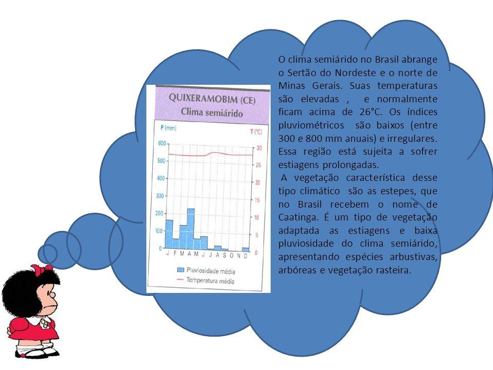 O clima semiárido no Brasil abrange o Sertão do Nordeste e o norte de Minas Gerais.
